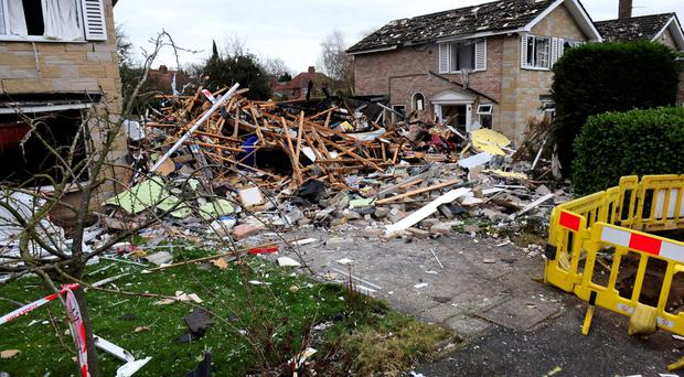 The remains of the house blown up in a suspected gas explosion