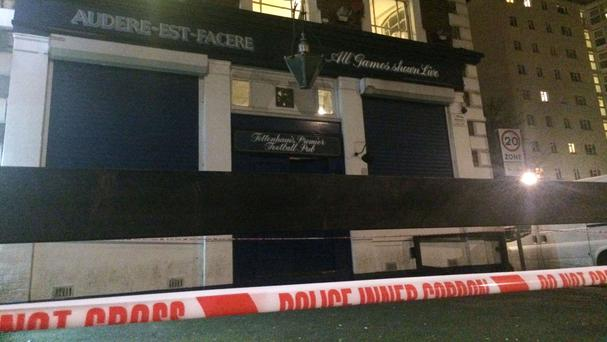 The scene at the Bill Nicholson pub after the incident on February 3