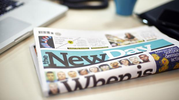A preview copy of The New Day, the first standalone national daily newspaper to be launched for 30 years (Trinity Mirror/PA)