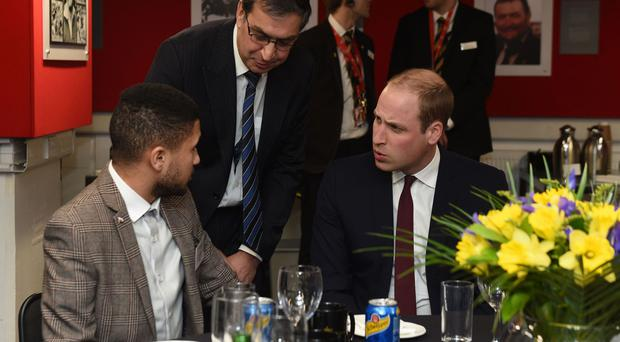 The Duke of Cambridge meets injured player Leif Thobroe (left) who is supported by the Welsh Rugby Charitable Trust before the 2016 RBS Six Nations match between Wales and France at the Principality Stadium in Cardiff.