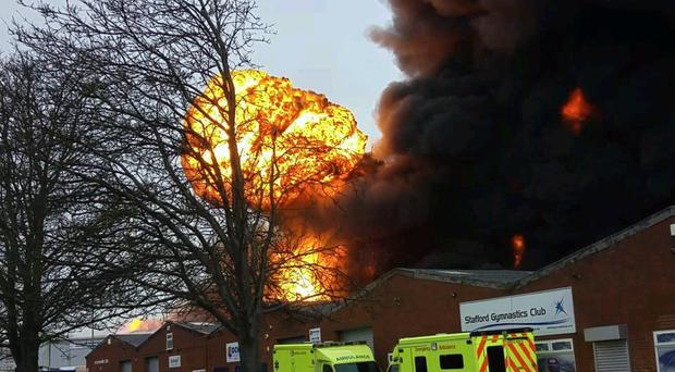 Firefighters have been battling to stop a warehouse blaze in Stafford (Picture: John B - @Breuilly)