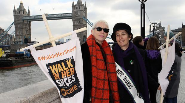 Singer Annie Lennox with Helen Pankhurst, great-granddaughter of suffragette Emmeline Pankhurst, before a Mothering Sunday rally organised by Care International marking the start of the Walk In Her Shoes campaign