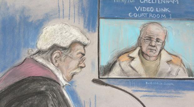 Court artist sketch of Ronald King appearing by videolink at Chelmsford Crown Court from HMP Chelmsford (Elizabeth Cook/PA)