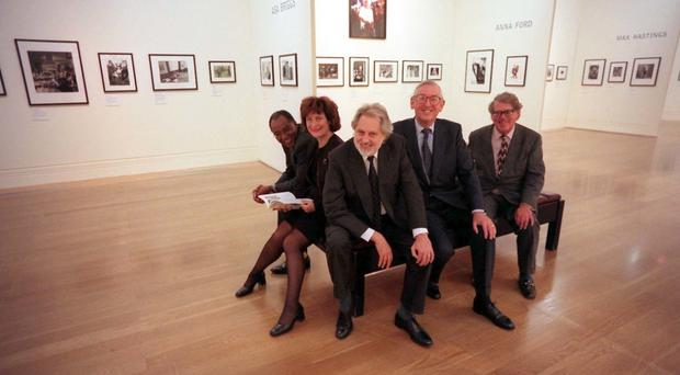 Lord Asa Briggs at the National Portrait Gallery in London with Trevor Philips, Helena Kennedy , Lord David Puttman and Lord Sainsbury of Preston Candover
