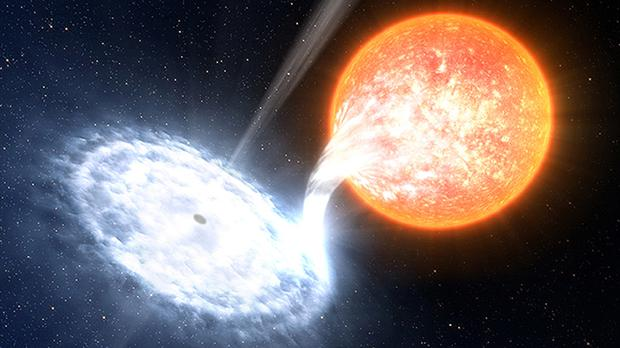 V404 Cygni emitted dazzling red flashes lasting just fractions of a second as it blasted out material that it could not swallow, the astronomers found
