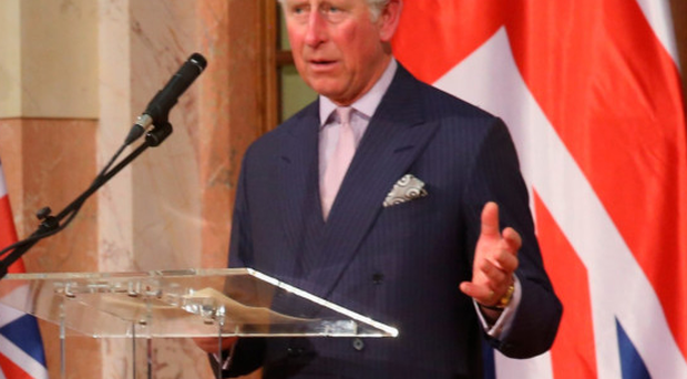 Prince Charles speaks at a reception at the Serbian Parliament