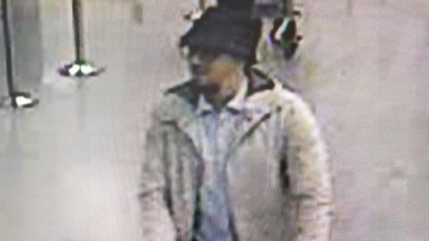 CCTV image issued by Belgian Federal Police of the man hunted in connection with the explosions at Brussels airport (Belgium Federal Police/PA)
