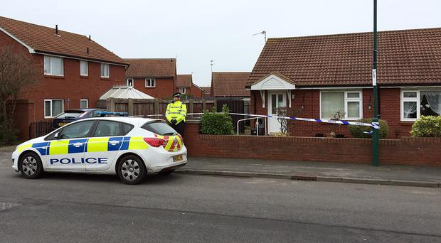 Police at the scene in Mapleton Crescent, Redcar