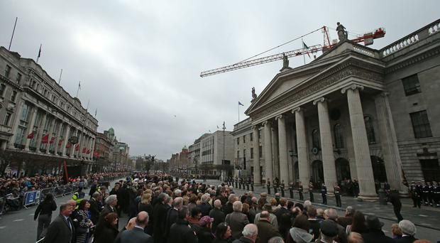 The Proclamation was read under the portico of the GPO