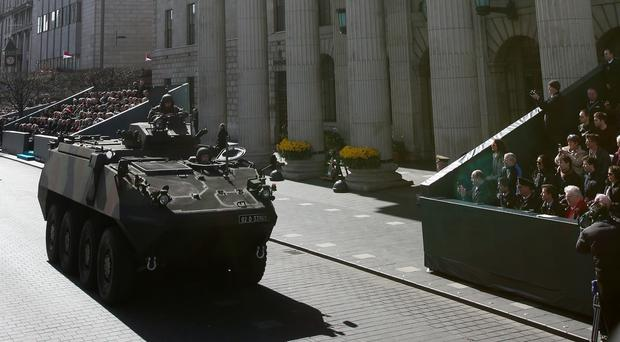 A Mowag passes the GPO during the 1916 Easter Rising centenary commemorations in Dublin