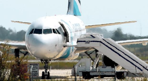 The plane was hijacked on a flight from Alexandria to Cairo in Egypt, and forced to divert to Cyprus (AP)