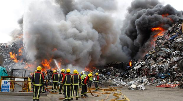 More than 70 firefighters battled the blaze at a recycling centre (West Midlands Fire Service/PA)