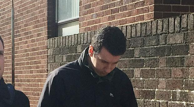 Northamptonshire Police officer Pc Declan Gabriel leaves Kettering Magistrates court