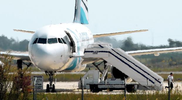 The hijacked EgyptAir jet in Cyprus on Tuesday (AP)