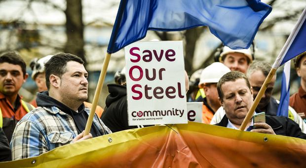 Workers at the threatened Tata Steel plant in Port Talbot