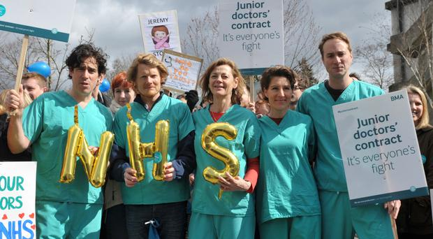 The Green Wing cast join a picket line outside Northwick Hospital in Middlesex