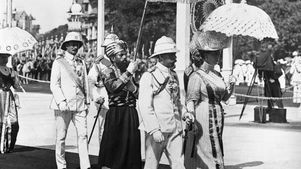 King George V and Queen Mary pictured in Bombay in 1911 before the Delhi Durbar in India to mark the coronation of the King