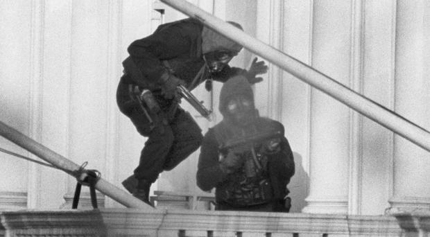 Members of the SAS enter the Iranian Embassy in London on May 5, 1980, to end a six-day siege