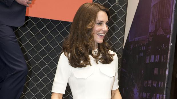 The Duchess of Cambridge wore a striking cream dress as she arrived at a meeting with young entrepreneurs in Mumbai