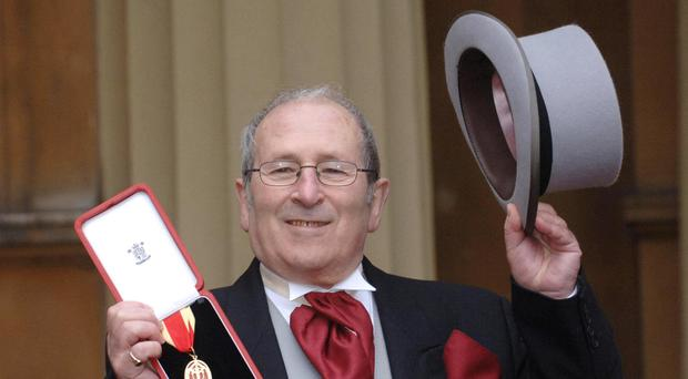 Playwright Sir Arnold Wesker at Buckingham Palace where he was knighted by the Queen in 2006