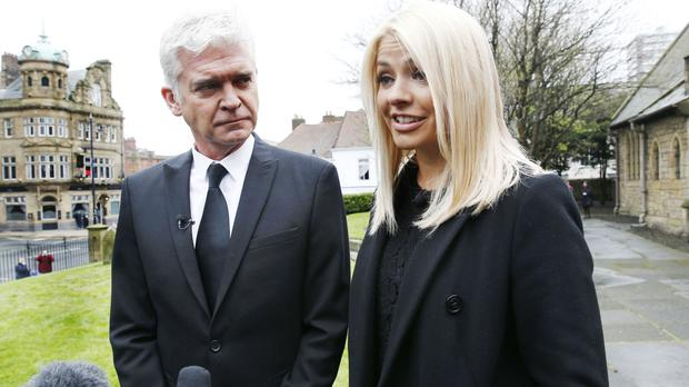 This Morning presenters Phillip Schofield and Holly Willoughby speak to the media outside Sunderland Minster
