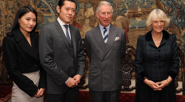The Prince of Wales and Duchess of Cornwall with King Jigme Khesar Namgyel Wangchuk and Queen Jetsun Pema Wangchuck on a visit to London