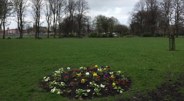 Gosforth Central Park in Newcastle, where two teenage girls were arrested on suspicion of abducting the three-year-old girl