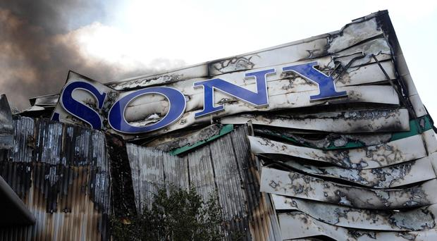 Smoke rising from the Sony distribution warehouse in Enfield, following a huge fire after rioting in the area in 2011