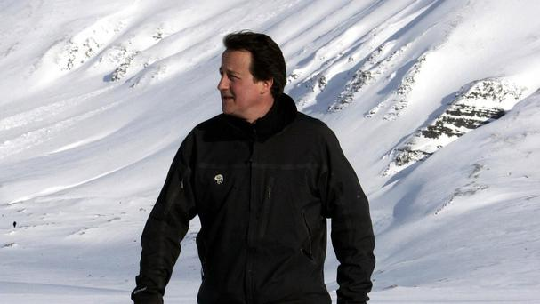 David Cameron walking on the Scott Turner Glacier 10 years ago in Svalbard, Norway