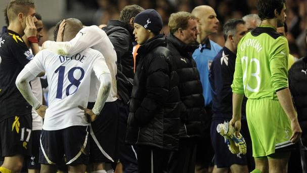 The scene as Fabrice Muamba was stretched off the pitch following a cardiac arrest in 2012
