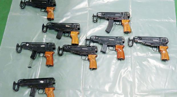 Some of the Skorpion machine pistols seized during the raid in Kent (National Crime Agency/PA)