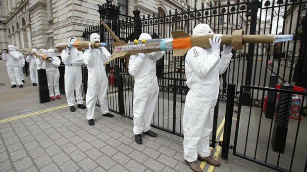 Amnesty International campaigners carrying dummy missiles to Downing Street last month to highlight the government's refusal to halt arms exports to Saudi Arabia