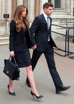 Ched Evans leaves Court of Appeal in London with partner Natasha Massey yesterday. Photo: John Aston/PA Wire