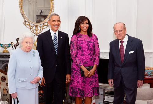 The Queen and Prince Philip with Barack and Michelle Obama at Windsor Castle yesterday