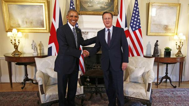 Prime Minister David Cameron greets US president Barack Obama in 10 Downing Street