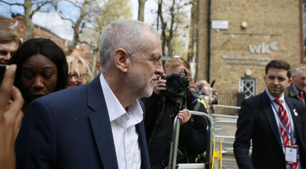 Labour leader Jeremy Corbyn arrives for a private meeting with US President Barack Obama at Lindley Hall in Westminster