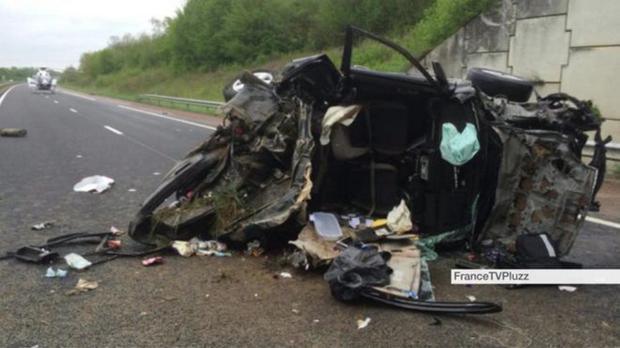 The scene of the crash between Lyon and Dijon in France
