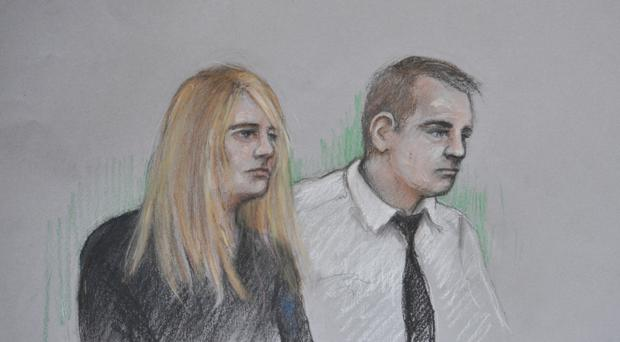 Court artist sketch by Elizabeth Cook of Jennie Gray and Ben Butler in the dock at the Old Bailey in London
