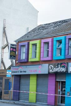 The damage caused to the roof of the Rainbow Chinese Restaurant in Derry's Carlisle Road following a fire