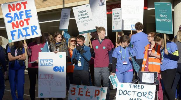 A picket line outside Bristol Royal Infirmary as thousands of junior doctors begun the first all-out strike in the history of the NHS