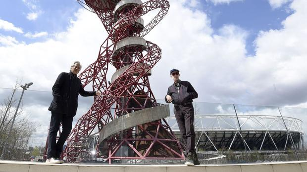 Anish Kapoor, left, and Carsten Holler visit The Slide at Arcelormittal Orbit at the Queen Elizabeth Olympic Park to review progress on the construction work