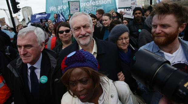 John McDonnell and Jeremy Corbyn with protesters outside the Department of Health in Whitehall