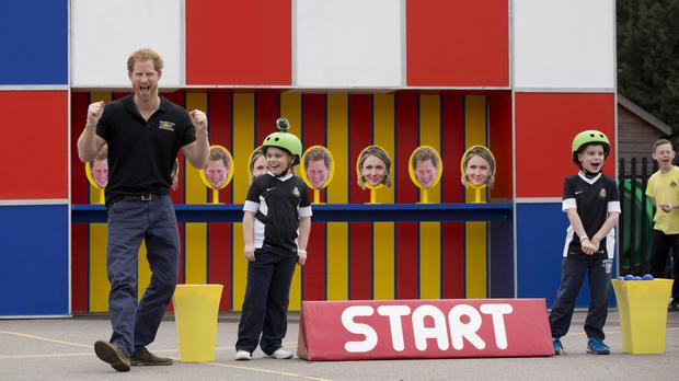 Prince Harry takes part in filming for an episode of the Game Changers TV show at Lambs Lane Primary School in Spencers Wood, near Reading