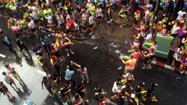 The Songkran New Year celebrations are also known as the Water Festival, when Thai families splash water on each other as part of a religious ritual of renewal (AP)