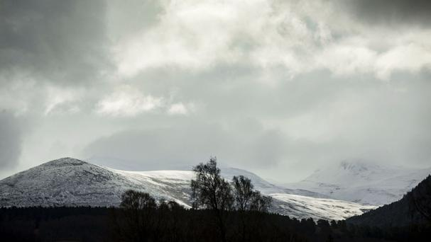 Cold weather in the Cairngorm mountain range in Scotland