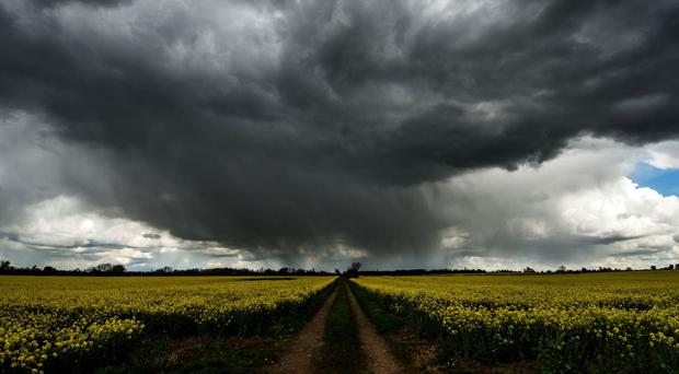 Storm clouds gather at Granby in the Vale of Belvoir, Nottinghamshire, as Britain looks set for a wet bank holiday