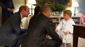 Barack Obama met Prince George in his pyjamas