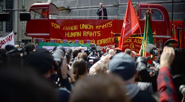 Labour leader Jeremy Corbyn joins thousands of people at a May Day rally in central London