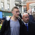 Leicester City's Jamie Vardy had a tattoo done ahead of the match that sealed the Foxes' triumph