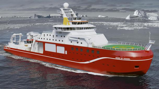 The new state-of-the-art polar research ship. The 'Boaty McBoatface' ship name was torpedoed in favour of Sir David Attenborough (Natural Environment Research Council)